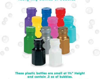 Bubbles -- Party Bubbles, Wedding Bubbles.   24 teeny tiny bottles.  Mix & Match, or choose all one color.