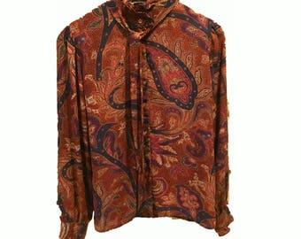 Vintage Stuart Lang Paisley Polyester Ruffled Blouse