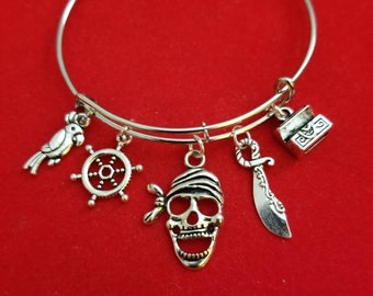 Silver Pirate Themed Charm Bracelet