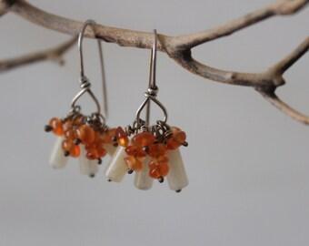 Orange Cluster Earrings, Orange Carnelian Cluster Earrings, Orange Dangle Earrings, Carnelian Dangle Earrings