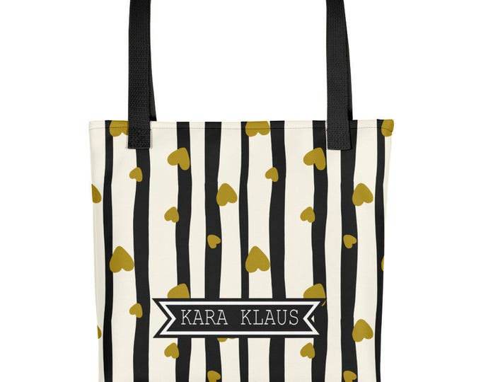 Gold Hearts Tote | Black and White Stripes Custom Name Tote | Personalized Name Tote | Bridesmaid Tote Bags | Bridesmaid Bag | Wedding Tote