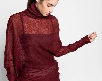 Turtleneck Sweater / Knit Sweater / Asymmetric Sweater / Long Sleeve Sweater / Long Sweater Tunic / Marcellamoda - MB0955