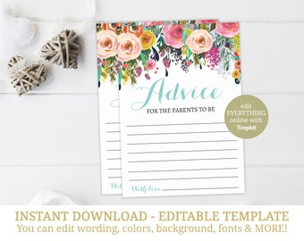 Printable Baby Shower Advice For Parents Cards, Baby Shower Advice, Advice For The Parents To Be, Baby Shower Game, INSTANT DOWNLOAD