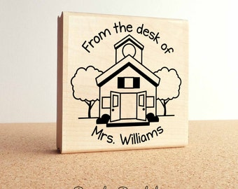 Large Personalized Teacher Schoolhouse Rubber Stamp, Custom Teacher Appreciation Gift Stamp