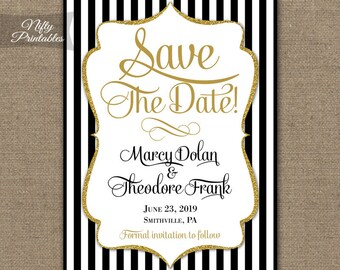 Save The Date Invitations - Printable Black Gold Glitter Save The Date Invites - Elegant Black White Stripe Save The Date Announcements BGL
