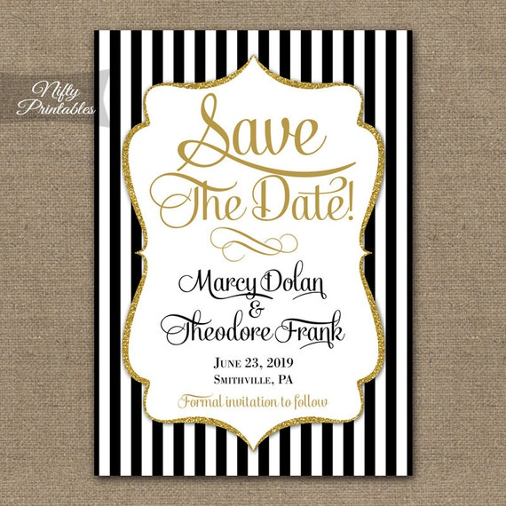 Save the date invitations printable black gold glitter save filmwisefo