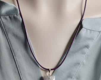 Moonstone Necklace~ Moonstone on Purple Leather~ Energy Necklaces~Natural Moonstone Necklace~