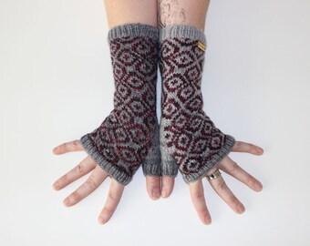 Wine & Clouds ~ Knit Fingerless gloves, Fingerless glove mittens, Long knit gloves, Boho knit glove mittens, Women's Fingerless Mitts