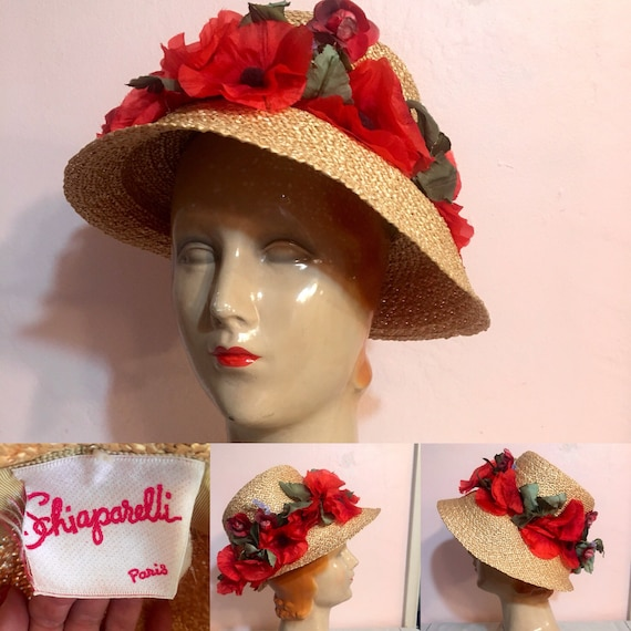 Vintage Late 1940s Early 1950s Straw Floral Hat by Schiaparelli