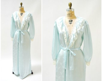 80s Vintage Blue Satin Robe Nightgown Blue lace Wedding Honeymoon Lingerie// Vintage Robe Lingerie Something Blue Large by Carole Hochman