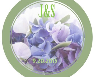 Hydrangea Wedding Stickers, personalized flower wedding labels, hydrangea floral, wedding, custom labels, wedding stickers, 3 sizes
