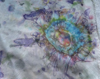 Hand Dyed Floral Abstract Silk Scarf