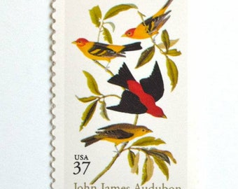 Five (5) vintage unused postage stamps - John Jay Audubon // 37 cent stamps // Face value 1.85