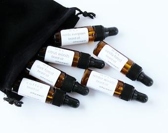 BEARD OIL SAMPLER, gifts for men, trial size beard oils, 100% natural and vegan beard oils