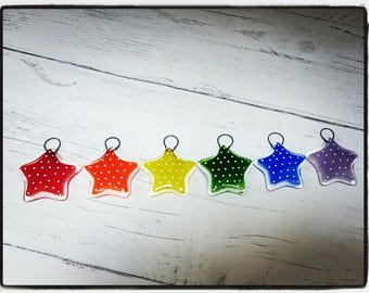 Fused Glass set of 6 Rainbow Spotty Star Decorations, Star Christmas Decorations, Christmas decor, tree decorations