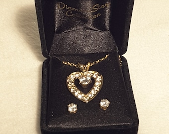 Heart Pendant Neclace and Earring Set