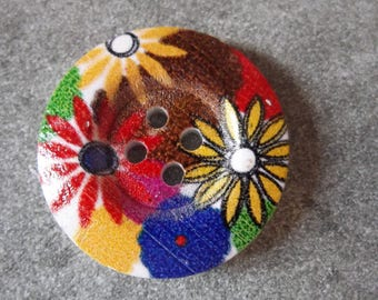 wood button, decor flowers 28mm