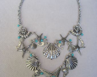 Antique Silver n Turquoise Star Fish, Sea Shells, Fish, Dolphin n Mermaid Double 'Chain' Charms Necklace