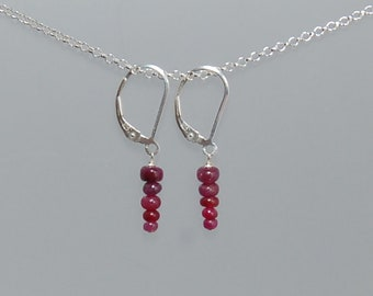 Sterling Silver Graduated Ruby Earrings