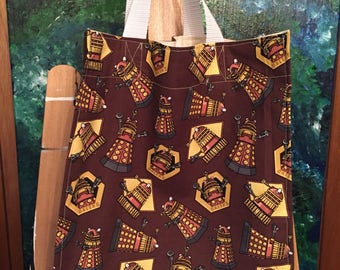 Brown reusable Dr Who Dalek cloth shopping bag