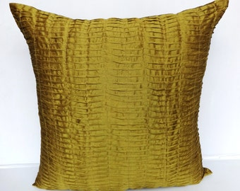 Topaz Yellow euro sham. Moss green floor pillow. Pleted cushion cover.  26 inch cushion cover only
