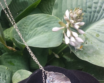 Sterling Silver Double Leaf and Chain Necklace