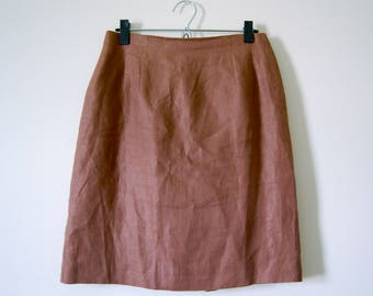 Vintage Cognac Brown 100% Linen Flax Pencil Skirt
