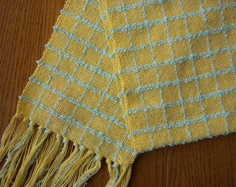 Handwoven Table Runner, Scarf in Canary Yellow and Aqua Cotton