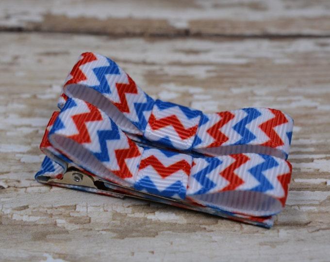 Patriotic Chevron Hair Clips Basic Tuxedo Clips Alligator Non Slip Barrettes for Babies Toddler Girl Set of 2