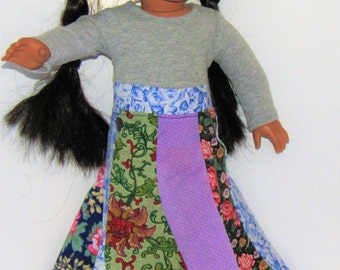 """Blue and Pink Flowers Spiral Skirt made to fit American Girl Doll Clothes 18"""""""