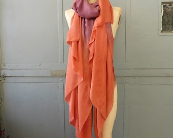 Natural dyed silk and wool scarf shawl in orange and burgundy with madder and lac dyes