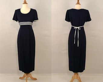 80s Blue/White Sailor Pinup Dress