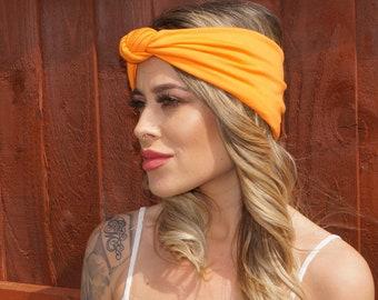 Festival Bright Orange Stretch, Turban Headband, festival headband, Orange Turban, Boho headband, Orange headwear, Summer headband.