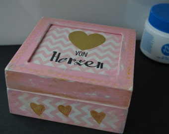 Box wood handmade gift storage case Heart