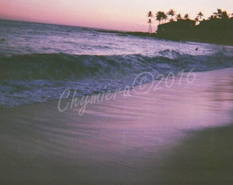 Purple Tides. Photography Giclée Print. Beach Photography. Seaside Lavender Sand Water, Sunset, Palm Trees Kauai, Hawaii