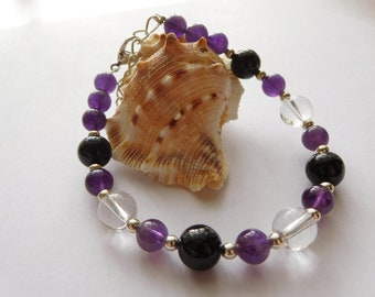 amethyst, clear quartz and black tourmaline bracelet