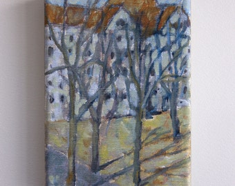 Schoolyard in Winter. Small canvas print/mini canvas on stretchers/art print - wall art ready to hang, 18x13cm