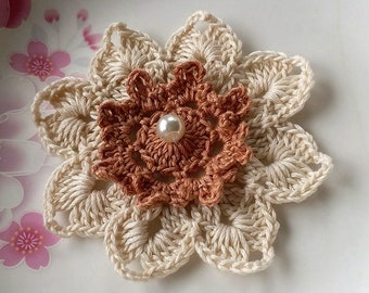 Crochet Flower in 3-1/4 inches In Cream and Copper YH - 254-03