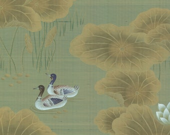 "SALES IN STOCK Chinoiserie handpainted wallpaper in green silk: panel size 36"" x 83"""