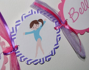 Gymnastics Happy Birthday Banner Pinks and Purples Tumble Party Banner