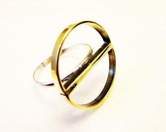 Deco Half-Circles Ring, Soldered Brass Semi-Circles, Sterling Silver Band, Everyday Gold Jewelry, Geometric Mod, Mezzaluna Ring