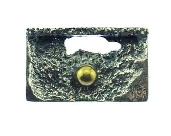 Signée Robert Larin broche, Robert Larin moderniste broche, broche de Robert Larin brutaliste, mixte broche en métal