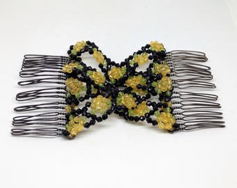 Vintage 1960s Hair Clips from Italy,Beaded Elastic Hair Comb, Ornate Beaded Hair Clip, Black Yellow Bun Comb, Floral Beaded Hair Comb