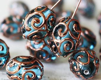 Handmade Glass Beads - Czech Lampwork Beads - Czech Glass Beads - Jewelry Making Supply - 17x14mm Oval Beads - Aquamarine - Choose Amount