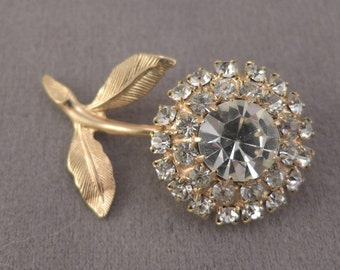 Gold Tone and Clear Rhinestone Flower Pin 1970s