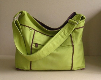 Sale - Pear Canvas Messenger Bag - diaper bag, tote, purse, cross body bag, stylish - Kira