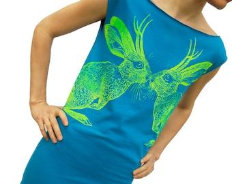 Kissing Jackalopes teal tshirt dress - eco friendly neon screenprint on American Apparel  - sizes S, M,  L