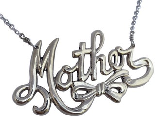 Mother Necklace    mom mamma silver mother's day gold pendant charm script jewelry