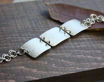 Chain and link bracelet, sterling silver bracelet, square bracelet, textured bracelet, chain maille bracelet