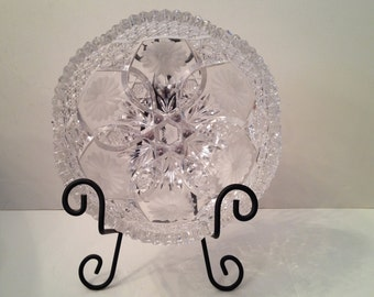 Cut Crystal Bowl with Floral, Hobnail and Brunswick Star Design Presented with Black Metal Bowl Display Stand
